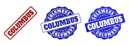 COLUMBUS scratched stamp seals in red and blue colors. Vector COLUMBUS labels with grunge style. Graphic elements are rounded rectangles, rosettes, circles and text labels.