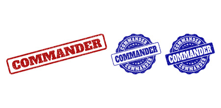 COMMANDER grunge stamp seals in red and blue colors. Vector COMMANDER labels with grainy texture. Graphic elements are rounded rectangles, rosettes, circles and text labels. Иллюстрация