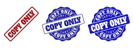COPY ONLY grunge stamp seals in red and blue colors. Vector COPY ONLY marks with grunge surface. Graphic elements are rounded rectangles, rosettes, circles and text labels. Illusztráció