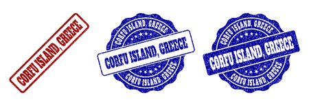 CORFU ISLAND, GREECE scratched stamp seals in red and blue colors. Vector CORFU ISLAND, GREECE labels with grunge surface. Graphic elements are rounded rectangles, rosettes, circles and text tags. Çizim