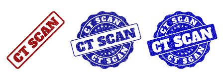 CT SCAN grunge stamp seals in red and blue colors. Vector CT SCAN labels with grunge effect. Graphic elements are rounded rectangles, rosettes, circles and text labels.