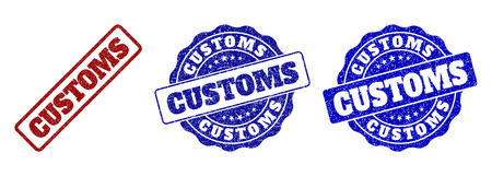 CUSTOMS grunge stamp seals in red and blue colors. Vector CUSTOMS labels with draft effect. Graphic elements are rounded rectangles, rosettes, circles and text labels.