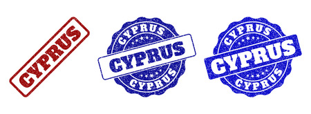 CYPRUS grunge stamp seals in red and blue colors. Vector CYPRUS overlays with grunge texture. Graphic elements are rounded rectangles, rosettes, circles and text tags. Vettoriali