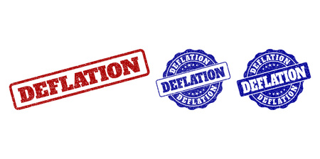 DEFLATION grunge stamp seals in red and blue colors. Vector DEFLATION signs with draft effect. Graphic elements are rounded rectangles, rosettes, circles and text titles.