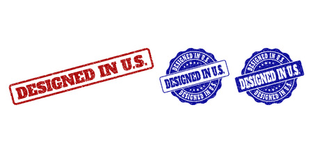 DESIGNED IN U.S. grunge stamp seals in red and blue colors. Vector DESIGNED IN U.S. marks with grunge surface. Graphic elements are rounded rectangles, rosettes, circles and text tags. Illustration