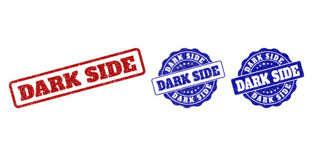 DARK SIDE scratched stamp seals in red and blue colors. Vector DARK SIDE marks with grainy texture. Graphic elements are rounded rectangles, rosettes, circles and text labels.