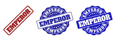 EMPEROR scratched stamp seals in red and blue colors. Vector EMPEROR watermarks with dirty style. Graphic elements are rounded rectangles, rosettes, circles and text tags.
