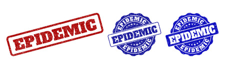 EPIDEMIC scratched stamp seals in red and blue colors. Vector EPIDEMIC imprints with dirty surface. Graphic elements are rounded rectangles, rosettes, circles and text tags. Ilustração