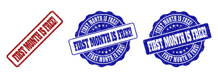 FIRST MONTH IS FREE! scratched stamp seals in red and blue colors. Vector FIRST MONTH IS FREE! labels with grunge surface. Graphic elements are rounded rectangles, rosettes, circles and text titles.