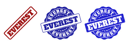 EVEREST grunge stamp seals in red and blue colors. Vector EVEREST overlays with grunge surface. Graphic elements are rounded rectangles, rosettes, circles and text labels. Illustration