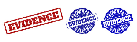EVIDENCE scratched stamp seals in red and blue colors. Vector EVIDENCE labels with grainy style. Graphic elements are rounded rectangles, rosettes, circles and text labels.