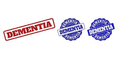 DEMENTIA grunge stamp seals in red and blue colors. Vector DEMENTIA imprints with grunge effect. Graphic elements are rounded rectangles, rosettes, circles and text captions.
