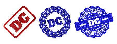 DC scratched stamp seals in red and blue colors. Vector DC signs with scratced texture. Graphic elements are rounded rectangles, rosettes, circles and text captions.