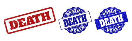 DEATH grunge stamp seals in red and blue colors. Vector DEATH labels with draft texture. Graphic elements are rounded rectangles, rosettes, circles and text labels.