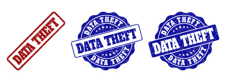 DATA THEFT grunge stamp seals in red and blue colors. Vector DATA THEFT imprints with grunge effect. Graphic elements are rounded rectangles, rosettes, circles and text titles. Иллюстрация