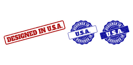 DESIGNED IN U.S.A. grunge stamp seals in red and blue colors. Vector DESIGNED IN U.S.A. watermarks with grunge surface. Graphic elements are rounded rectangles, rosettes, circles and text titles.
