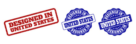 DESIGNED IN UNITED STATES grunge stamp seals in red and blue colors. Vector DESIGNED IN UNITED STATES marks with grunge style. Graphic elements are rounded rectangles, rosettes, circles and text tags.