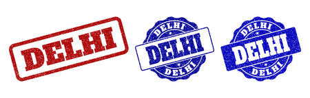 DELHI grunge stamp seals in red and blue colors. Vector DELHI labels with dirty surface. Graphic elements are rounded rectangles, rosettes, circles and text labels. 일러스트