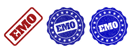 EMO grunge stamp seals in red and blue colors. Vector EMO imprints with grunge texture. Graphic elements are rounded rectangles, rosettes, circles and text tags. Designed for rubber stamp imitations.