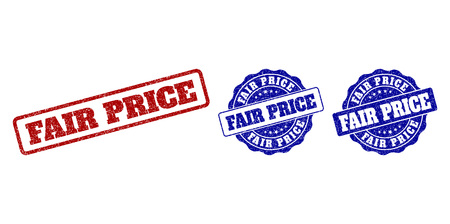 FAIR PRICE scratched stamp seals in red and blue colors. Vector FAIR PRICE labels with draft effect. Graphic elements are rounded rectangles, rosettes, circles and text labels.