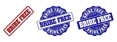BRIBE FREE grunge stamp seals in red and blue colors. Vector BRIBE FREE signs with grunge effect. Graphic elements are rounded rectangles, rosettes, circles and text captions. Çizim
