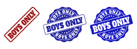 BOYS ONLY grunge stamp seals in red and blue colors. Vector BOYS ONLY signs with grunge effect. Graphic elements are rounded rectangles, rosettes, circles and text tags.