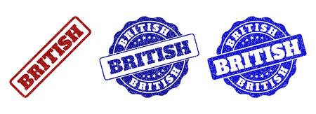 BRITISH grunge stamp seals in red and blue colors. Vector BRITISH signs with grunge surface. Graphic elements are rounded rectangles, rosettes, circles and text labels.