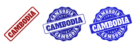 CAMBODIA grunge stamp seals in red and blue colors. Vector CAMBODIA signs with grunge effect. Graphic elements are rounded rectangles, rosettes, circles and text titles. Ilustração