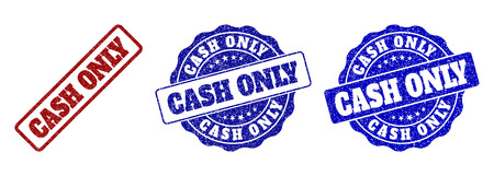 CASH ONLY scratched stamp seals in red and blue colors. Vector CASH ONLY labels with scratced style. Graphic elements are rounded rectangles, rosettes, circles and text labels. Illusztráció