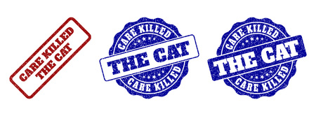 CARE KILLED THE CAT grunge stamp seals in red and blue colors. Vector CARE KILLED THE CAT watermarks with grunge style. Graphic elements are rounded rectangles, rosettes, circles and text titles. Illusztráció