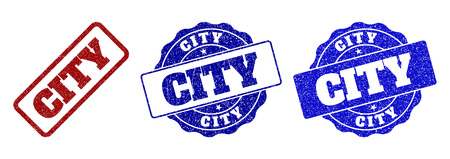 CITY grunge stamp seals in red and blue colors. Vector CITY signs with grunge effect. Graphic elements are rounded rectangles, rosettes, circles and text labels. Designed for rubber stamp imitations.