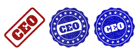 CEO grunge stamp seals in red and blue colors. Vector CEO labels with draft style. Graphic elements are rounded rectangles, rosettes, circles and text labels. Designed for rubber stamp imitations.