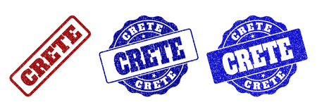 CRETE scratched stamp seals in red and blue colors. Vector CRETE overlays with draft style. Graphic elements are rounded rectangles, rosettes, circles and text labels.