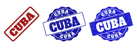 CUBA scratched stamp seals in red and blue colors. Vector CUBA signs with draft style. Graphic elements are rounded rectangles, rosettes, circles and text tags. Designed for rubber stamp imitations.