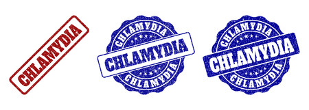 CHLAMYDIA grunge stamp seals in red and blue colors. Vector CHLAMYDIA imprints with grunge texture. Graphic elements are rounded rectangles, rosettes, circles and text labels. Stock Vector - 127288469