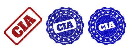 CIA grunge stamp seals in red and blue colors. Vector CIA overlays with grunge effect. Graphic elements are rounded rectangles, rosettes, circles and text tags. Designed for rubber stamp imitations. Ilustração
