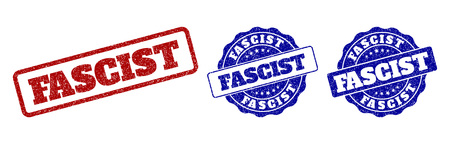 FASCIST grunge stamp seals in red and blue colors. Vector FASCIST watermarks with grunge style. Graphic elements are rounded rectangles, rosettes, circles and text titles.
