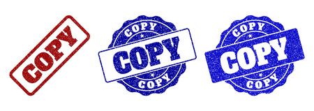 COPY grunge stamp seals in red and blue colors. Vector COPY labels with dirty texture. Graphic elements are rounded rectangles, rosettes, circles and text labels. Designed for rubber stamp imitations.