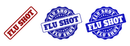 FLU SHOT grunge stamp seals in red and blue colors. Vector FLU SHOT labels with dirty effect. Graphic elements are rounded rectangles, rosettes, circles and text captions.