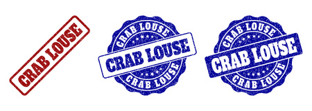 CRAB LOUSE scratched stamp seals in red and blue colors. Vector CRAB LOUSE labels with scratced style. Graphic elements are rounded rectangles, rosettes, circles and text labels.