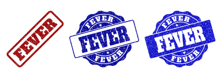 FEVER grunge stamp seals in red and blue colors. Vector FEVER watermarks with grunge style. Graphic elements are rounded rectangles, rosettes, circles and text labels.
