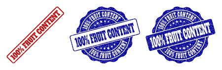 100% FRUIT CONTENT scratched stamp seals in red and blue colors. Vector 100% FRUIT CONTENT labels with grainy effect. Graphic elements are rounded rectangles, rosettes, circles and text labels.