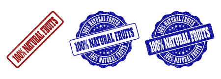 100% NATURAL FRUITS scratched stamp seals in red and blue colors. Vector 100% NATURAL FRUITS signs with grainy surface. Graphic elements are rounded rectangles, rosettes, circles and text captions.