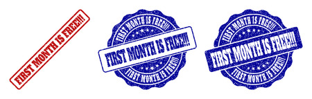 FIRST MONTH IS FREE!!! grunge stamp seals in red and blue colors. Vector FIRST MONTH IS FREE!!! overlays with grunge effect. Graphic elements are rounded rectangles, rosettes, Illustration