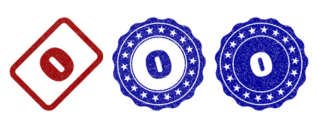 0 grunge stamp seals in red and blue colors. Vector 0 imprints with grunge effect. Graphic elements are rounded rectangles, rosettes, circles and text captions. Designed for rubber stamp imitations.