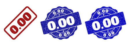 0.00 grunge stamp seals in red and blue colors. Vector 0.00 labels with grunge surface. Graphic elements are rounded rectangles, rosettes, circles and text labels.