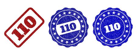 110 sellos de sello de grunge en colores rojo y azul. Vector 110 marcas de agua con textura grunge. Los elementos gráficos son rectángulos redondeados, rosetas, círculos y etiquetas de texto.