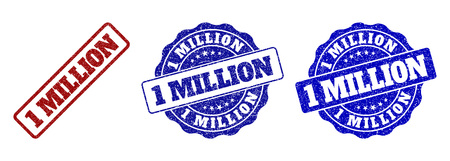 1 MILLION grunge stamp seals in red and blue colors. Vector 1 MILLION watermarks with draft surface. Graphic elements are rounded rectangles, rosettes, circles and text captions. Vector Illustration