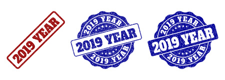 2019 YEAR grunge stamp seals in red and blue colors. Vector 2019 YEAR watermarks with grunge style. Graphic elements are rounded rectangles, rosettes, circles and text captions.