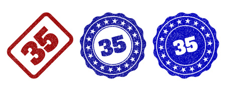 35 grunge stamp seals in red and blue colors. Vector 35 labels with grunge effect. Graphic elements are rounded rectangles, rosettes, circles and text labels. Designed for rubber stamp imitations. Illustration